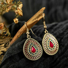 ❤️Earrings 9ct Gold Over Drops Hook 42 mm ❤️ Turkish Ruby UK FREE Post Silver❤️