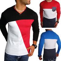 JEEL Herren Langarmshirt Longsleeve Sweatshirt Langarm Shirt Rundhals V-Neck Neu