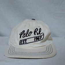 VTG Polo Ralph Lauren Script Leather Strapback Hat 90s Spell Out Cap Stadium RLX