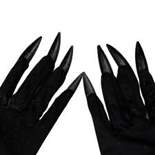 HOT Fashion Long Witch Gloves Nails Black Costume Halloween Monster Adult W