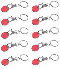 10x Metall Schlüsselanhänger mit Einkaufschip / Farbe: rot