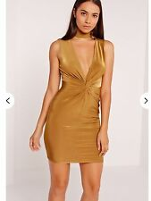 Missguided Slinky Gold Twist Front Deep Plunge Bodycon Dress. Size 8.
