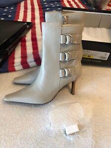 Grey Valerie Stevens 'Jack' zip up stiletto bootie with buckles | Size 5.5
