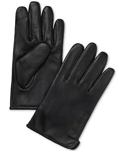Calvin Klein Mens Leather Fleece Lined Touchscreen Gloves Large Black $88 NWT