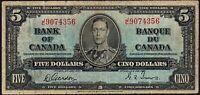 1937 Canada $5 Dollars Banknote * J/C 9074356 * VG * P-60b * George VI *