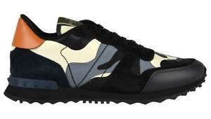 Valentino Rockstud Camouflage Sneakers Size UK 8 (EUR 42) Camo Trainers