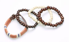 BROWN & CREAM WOOD BEAD BRACELETS W. CORAL THREAD COVERED LEATHER ADDITION(ZX45)