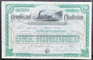 MEMPHIS & CHARLESTON RAILROAD Stock 1892. TN. Important Link. Charter 1846 VF+++
