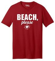 Mens Beach Please V-Neck Tee Summer Outdoors Vacation