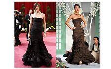 Oscar de la Renta NEW $12K Chocolate Brown Ruffle Corset Mermaid Dress Gown 8US