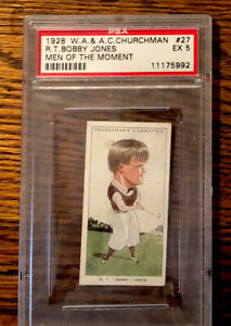 1928 W A and A C Churchman Bobby Jones  #27 PSA 5 Ex Men of the Moment