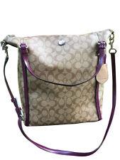 Coach Peyton Convertible Shoulder Bag Silver/Khaki/Plum F24601 Brand New!
