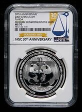 NGC MS70 China 2009 30th Issuance Modern Precious Metal Panda Silver Coin S10Y