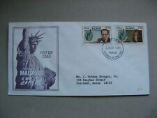 MALDIVES, cover FDC 1986, 100th ann Liberty Statue, music John Lennon