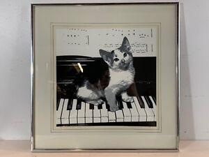 """Vintage """"Musical Kitten"""" Framed Serigraph Signed James H. Wennerstein 24/275"""