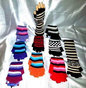 Ladies long   Finger-less One Size Magic Striped Gloves,colour/design range BNWT