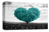 Grey Teal Floral Wall Art Landscape Abstract Love Tree Canvas Split Picture