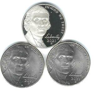 2021-S San Francisco Proof Jefferson Nickel with Philadelphia & Denver (3 Coins)