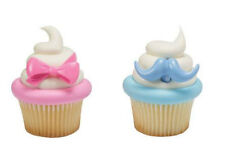 Bow & Mustache Gender Reveal cupcake rings (24) party favor cake topper 2 dozen