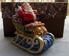 Jay Strongwater Santa on Sleigh Jeweled Ornament Swarovski Elements New in Box