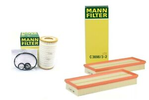 Set of Two Air Filters /& Oil Filter Mann For Mercedes C36983//2 /& HU718//5X