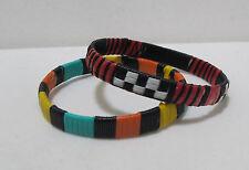 Colorful, Excellent Vintage Woven Straw & Cording Bangle Bracelets - Set of 2