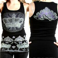 Vocal Tank Top Size S M L XL Black Lotus Flower Crystal Bling Womens Shirt New