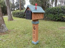 Handcrafted 2 Tone Stained Mailbox & Post