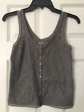 New Hollister Tank Top Gray Lace Size XS