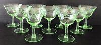 Vintage Tiffin Green Depression Glass Low Sherbet Glasses (9) Uranium Vaseline