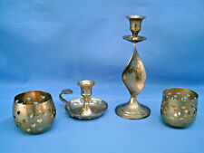 """VINTAGE 4 Piece Lot Of Polished Brass Candle Holders / 8.5"""" Tiered Candlesticks"""
