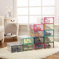 1Pc Clear Plastic Stackable Shoe Box Storage Drawer Foldable Organizer   AU1