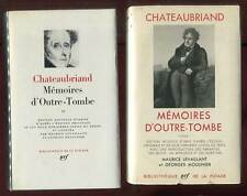 CHATEAUBRIAND: MEMOIRES D'OUTRE-TOMBE 1 & 2. GALLIMARD. LA PLEIADE. 1966-1976.