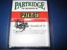 Partridge Patriot Size 10 Nordic Black Nickel Straight Eye Double Salmon Hooks