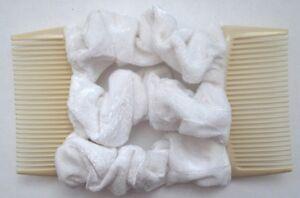 white velvet fabric material double elastic stretch hair comb updo bun maker 1