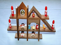 Beautiful Vintage Hand Made Wood Nativity Scene House