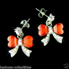 w Swarovski Crystal Holiday Xmas Red Butterfly BOW Bridal Wedding Stick Earrings