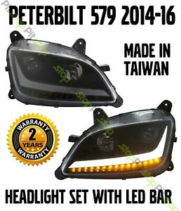 2014 2015 2016 Peterbilt 579 LED Black Headlight Replacement Left Right Pair SET