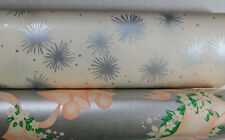 """2 Vintage Store Wrapping Paper Bells Silver Stars Mid Century Roll 20"""""""