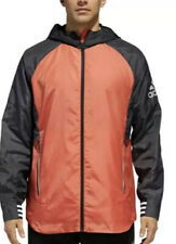 adidas Athletics Mens ID Woven Windbreaker Jacket DM1816 Orange Black Size Small