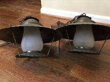 Pair Vintage Copper Hanging Lights Pendants