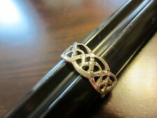 Sterling Silver Signed? VTG Man/Woman CELTIC KNOT Wide Band Ring Size 9– 4g