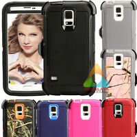For Samsung Galaxy S5 S 5 Case (Clip fits Otterbox Defender) Shockproof Rubber