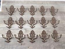 15 Cast Iron Coat Hat Wall Hooks Antique Style School Farm Tack Closet Brown