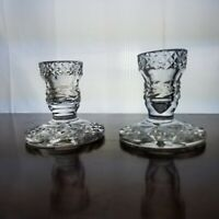 """PAIR OF VINTAGE WATERFORD GLANDORE IRISH CRYSTAL CANDLE HOLDERS, 3.25"""" DEFECTS"""