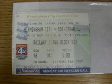 04/11/2001 Ticket: Birmingham City v Rotherham United  (folded). Any faults with