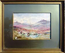 Tableau Aquarelle Les landes Montagnes signé Alabaster Harris&Sons