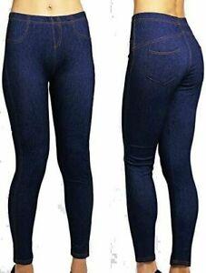 New  Ladies Plus Size Stretchy Denim Look Skinny Jeggings Leggings 8-24