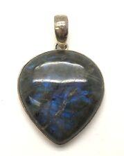 Sterling Silver 925 Trillion Green / Blue Labradorite Oxidized Chunky Pendant