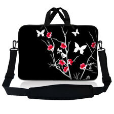 "13.3"" 13"" Laptop Mackbook Chromebook Sleeve Bag Case w Shoulder Strap Floral S55"